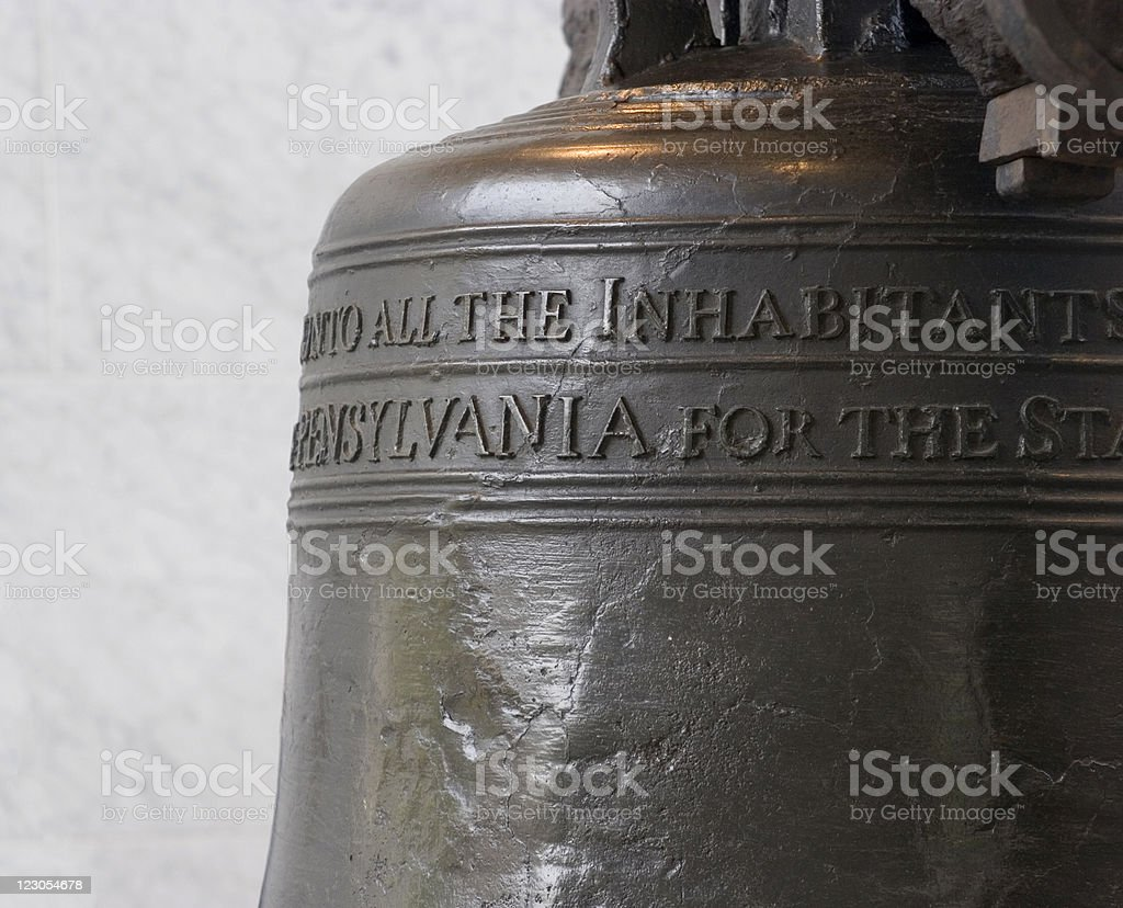 Liberty Bell with Marble Wall stock photo