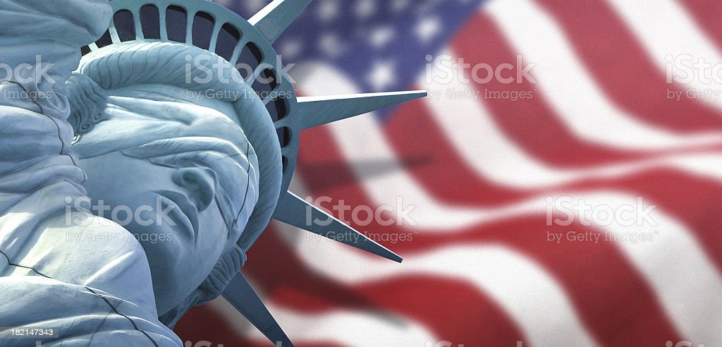Liberty Blind with US Flag royalty-free stock photo