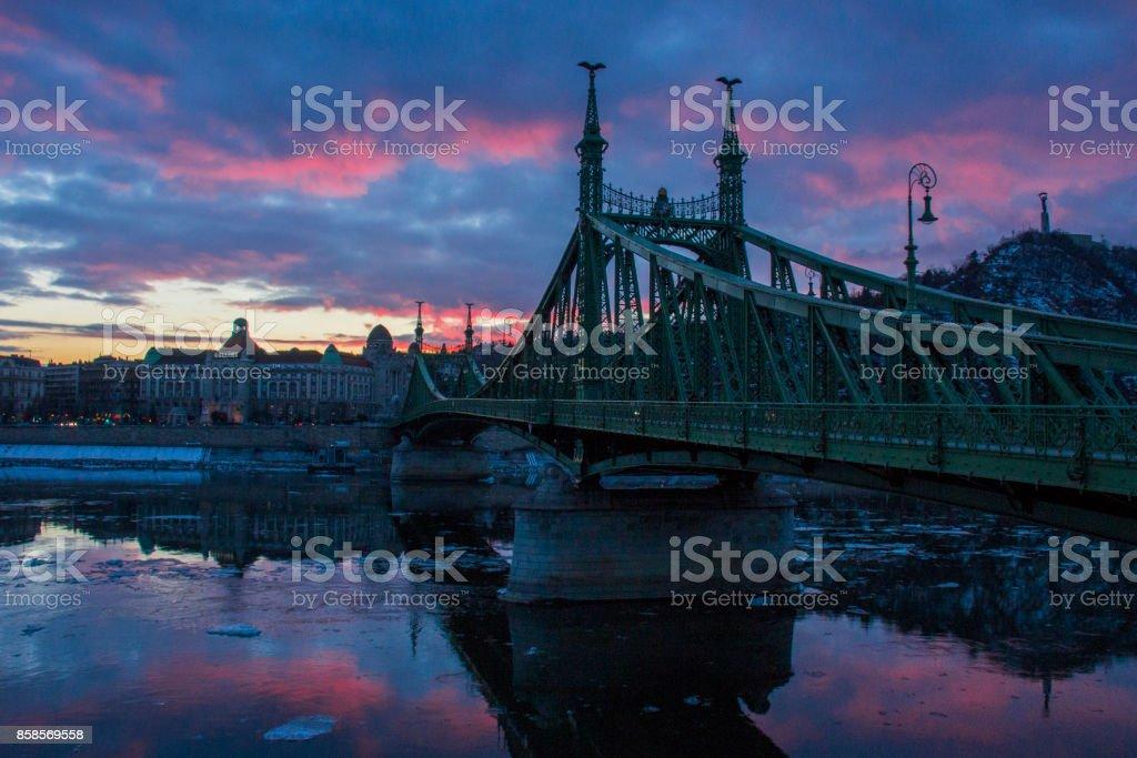 Liberty Bridge at nightime, Budapest stock photo