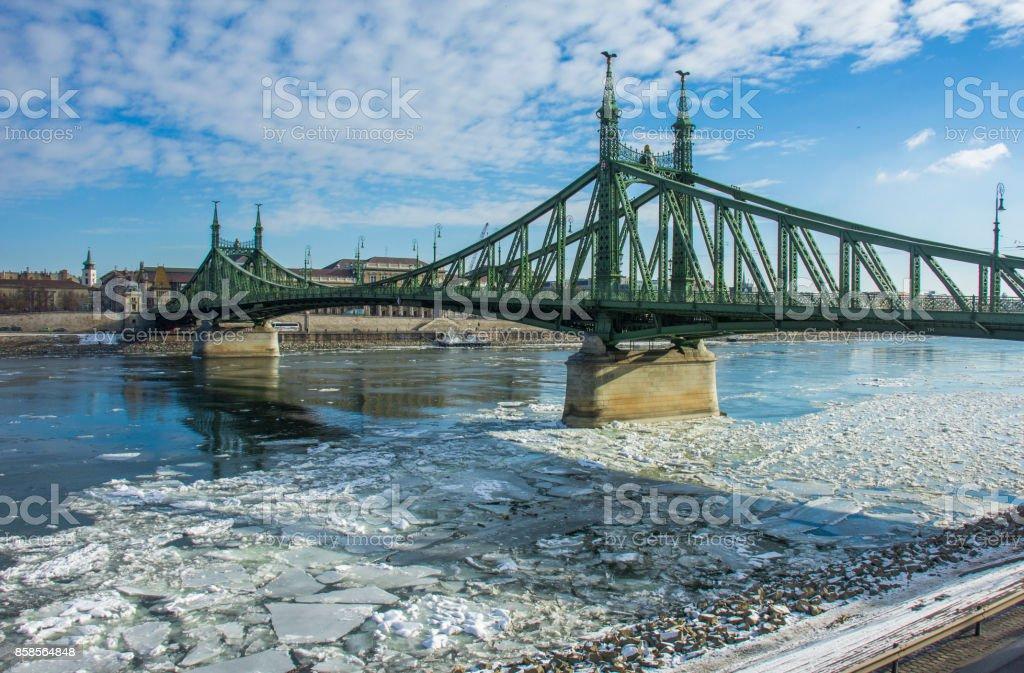 Liberty Bridge at winter stock photo
