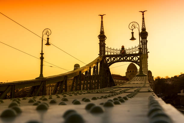 Liberty Bridge - Budapest, Hungary Sunset at Liberty Bridge - Budapest, Hungary liberty bridge budapest stock pictures, royalty-free photos & images