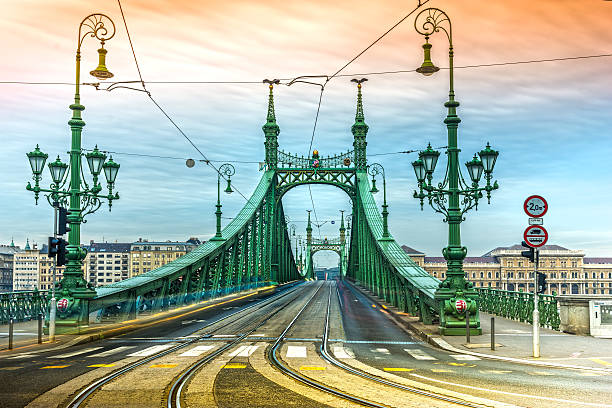 Liberty Bridge, Budapest. The Szabadsag hid or Liberty Bridge in Budapest, connects Buda and Pest across the River Danube. liberty bridge budapest stock pictures, royalty-free photos & images