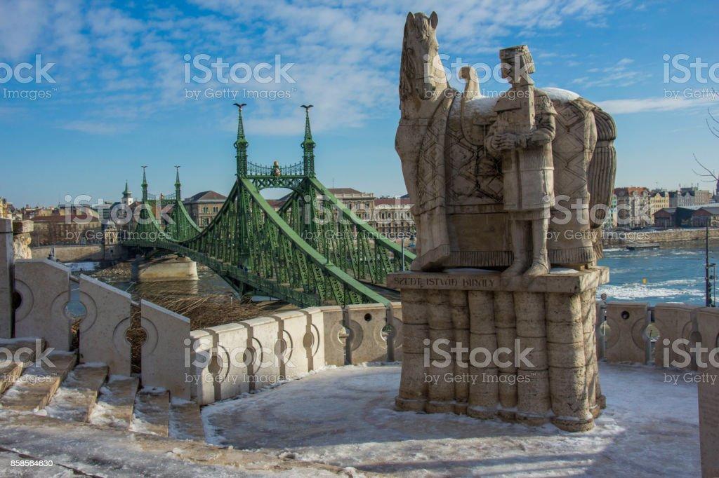 Liberty Bridge from Gellért Hill, Hungary stock photo