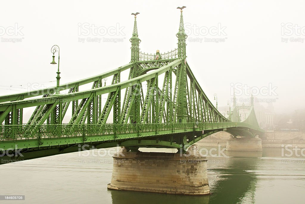 Liberty Bridge in a foggy day. Budapest. royalty-free stock photo