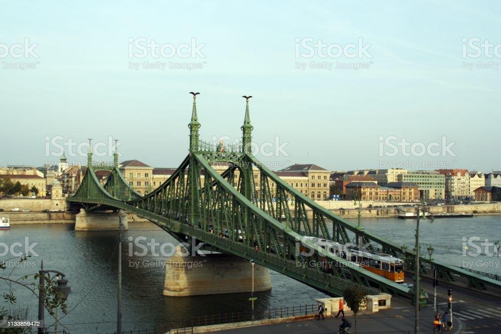 Liberty Bridge in Budapest, Hungary. stock photo
