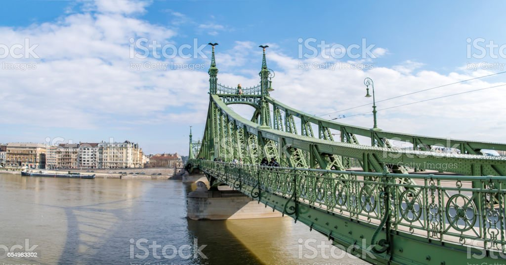 Liberty Bridge in Budapest, Hungary stock photo