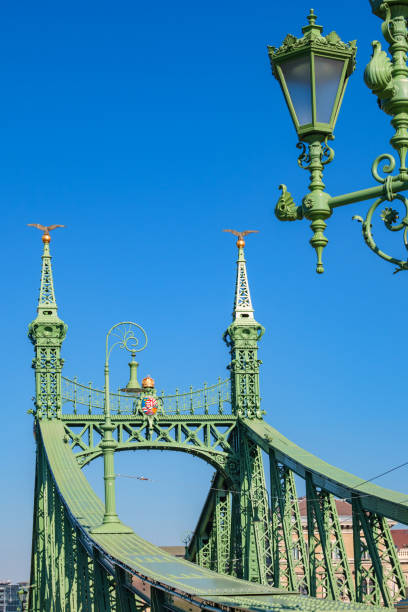 Liberty Bridge in Budapest Hungary Stock photograph of the landmark Liberty Bridge in Budapest Hungary on a sunny day. liberty bridge budapest stock pictures, royalty-free photos & images