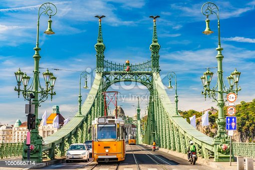 Liberty Bridge in Budapest, sunny daylight