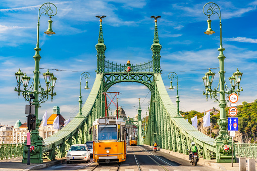 Liberty Bridge in Budapest, sunny daylight