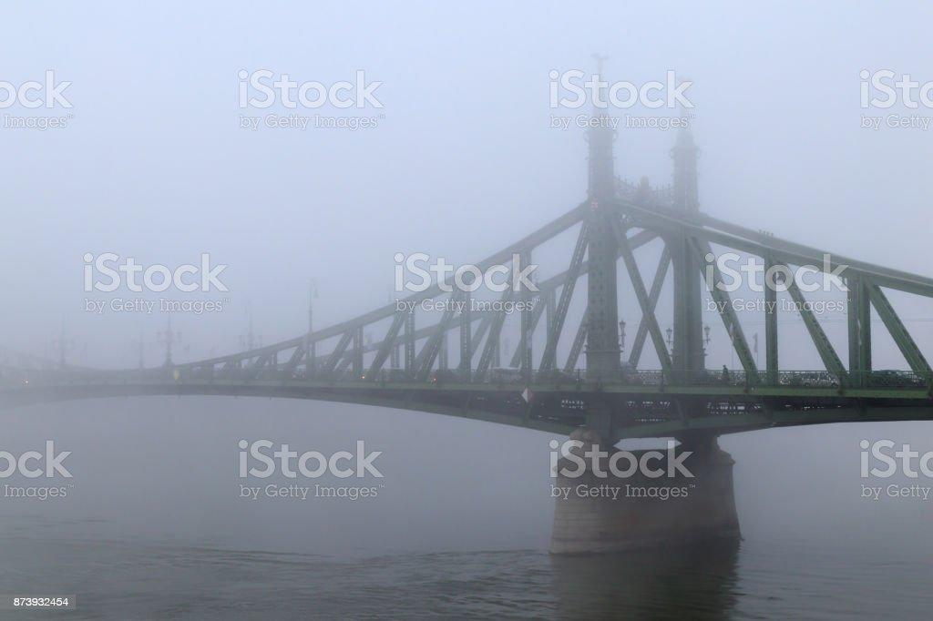 Liberty Bridge in the fog stock photo