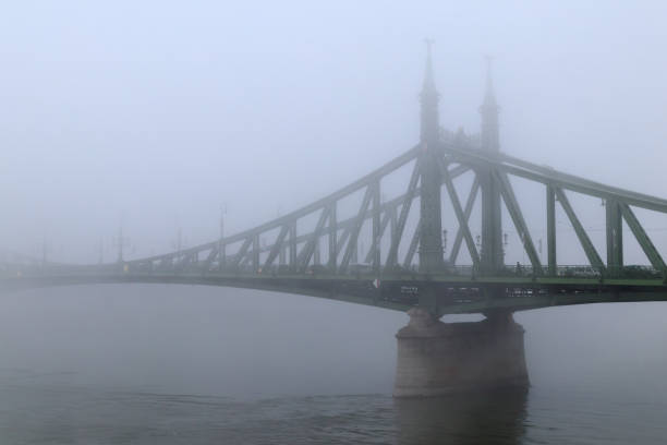 liberty bridge in the fog - low contrast stock pictures, royalty-free photos & images