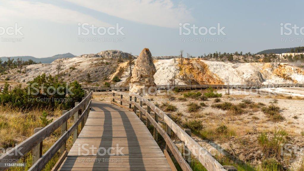 Liberty Cap Rock Formation, Mammoth Hot Springs, Yellowstone National Park - Royalty-free Boardwalk Stock Photo