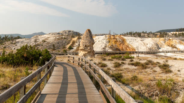 Liberty Cap Rock Formation, Mammoth Hot Springs, Yellowstone National Park stock photo