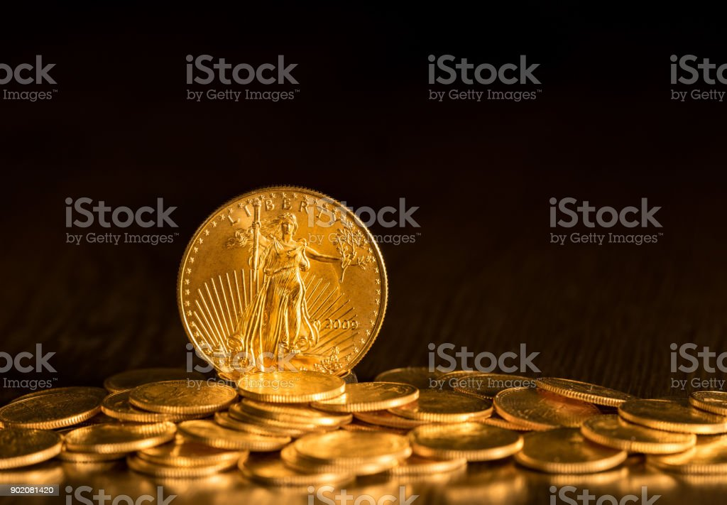 Liberty Gold Eagle one ounce coin stock photo