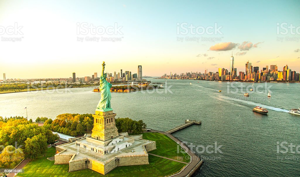 Liberty Island overlooking Manhattan Skyline royalty-free stock photo