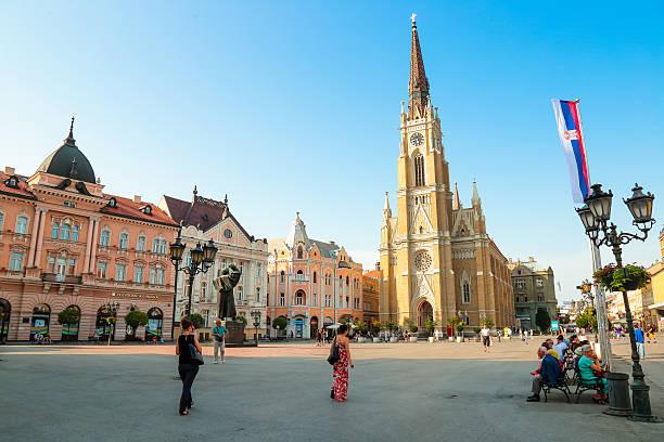 Liberty square Novi Sad, Serbia stock photo