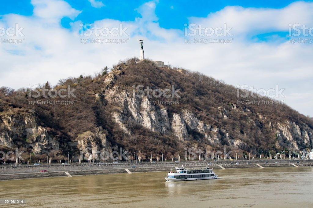 Liberty Statue over Danube in Budapest, Hungary stock photo