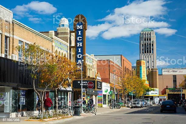 Liberty Street Scene In Ann Arbor Stock Photo - Download Image Now