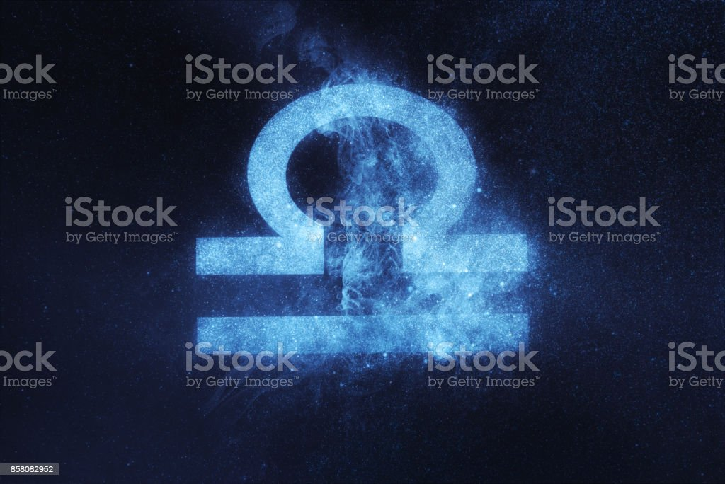 Libra Zodiac Sign. Abstract night sky background stock photo