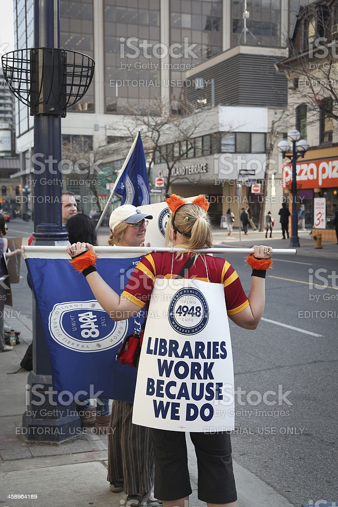 Librarians on strike royalty-free stock photo