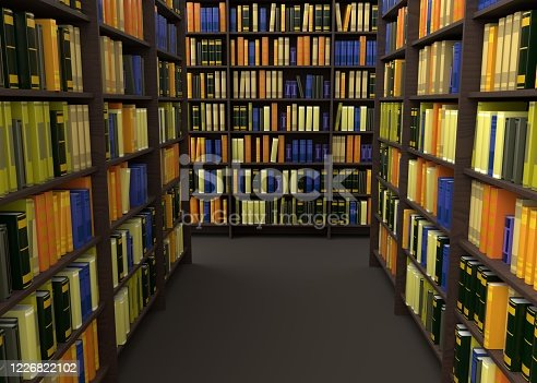 library, 3d rendering, background