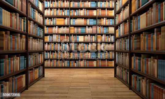 istock Library aisle with wooden shelves and hundreds of books 539673956