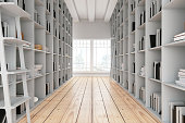 Library Aisle with Wooden Shelves. 3d render