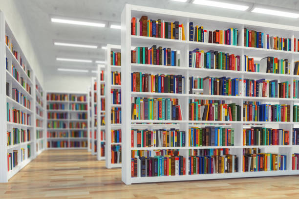 Library. Background from white  bookshelves with books and textbooks. Learning and education concept. stock photo