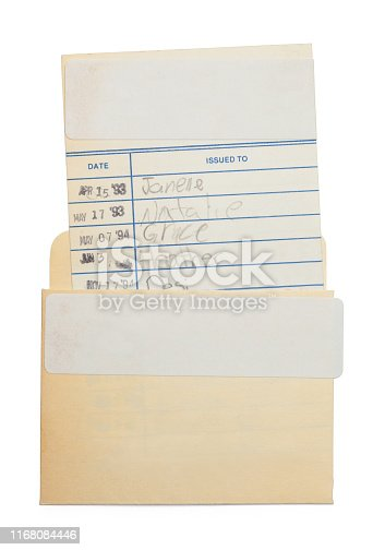 Old Library Card Isolated on White Background.