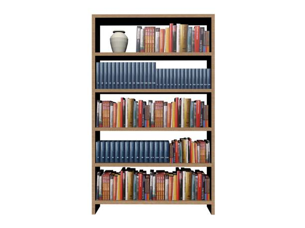 library book shelf background on a white background - 3d rendering stock photo