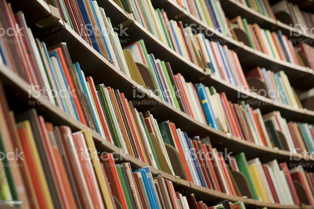 Library bookshelf full of books stock photo