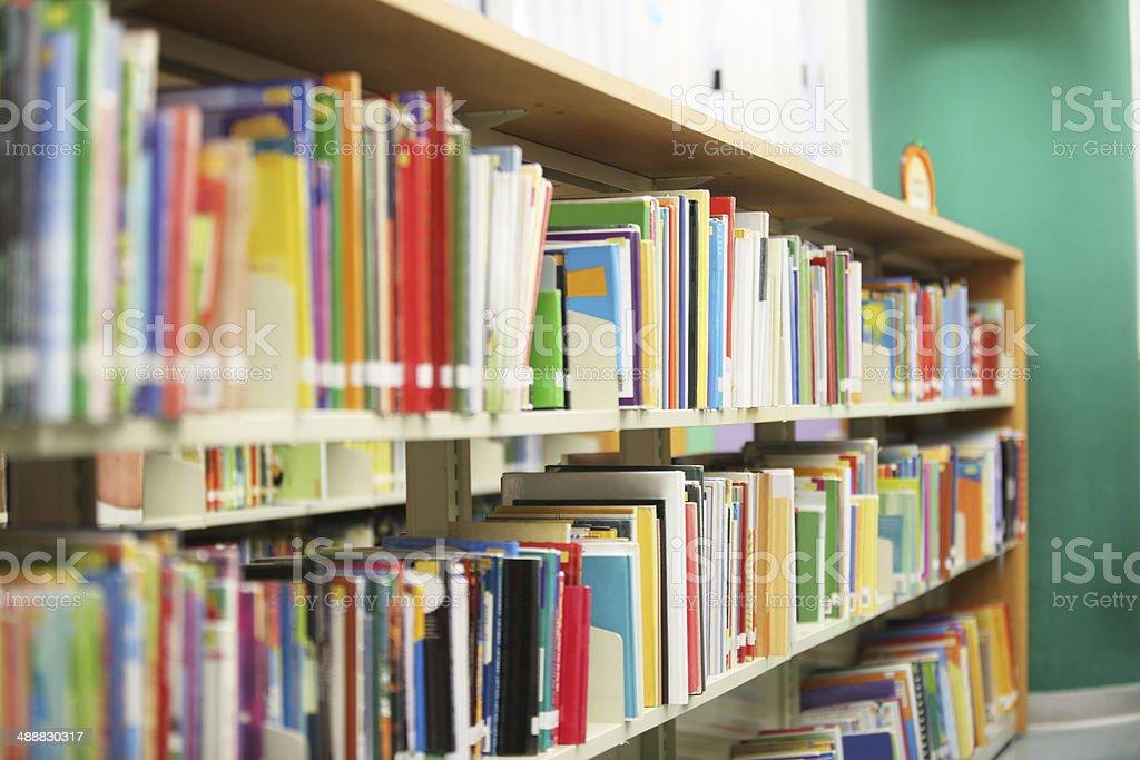 Library Bookshelf stock photo