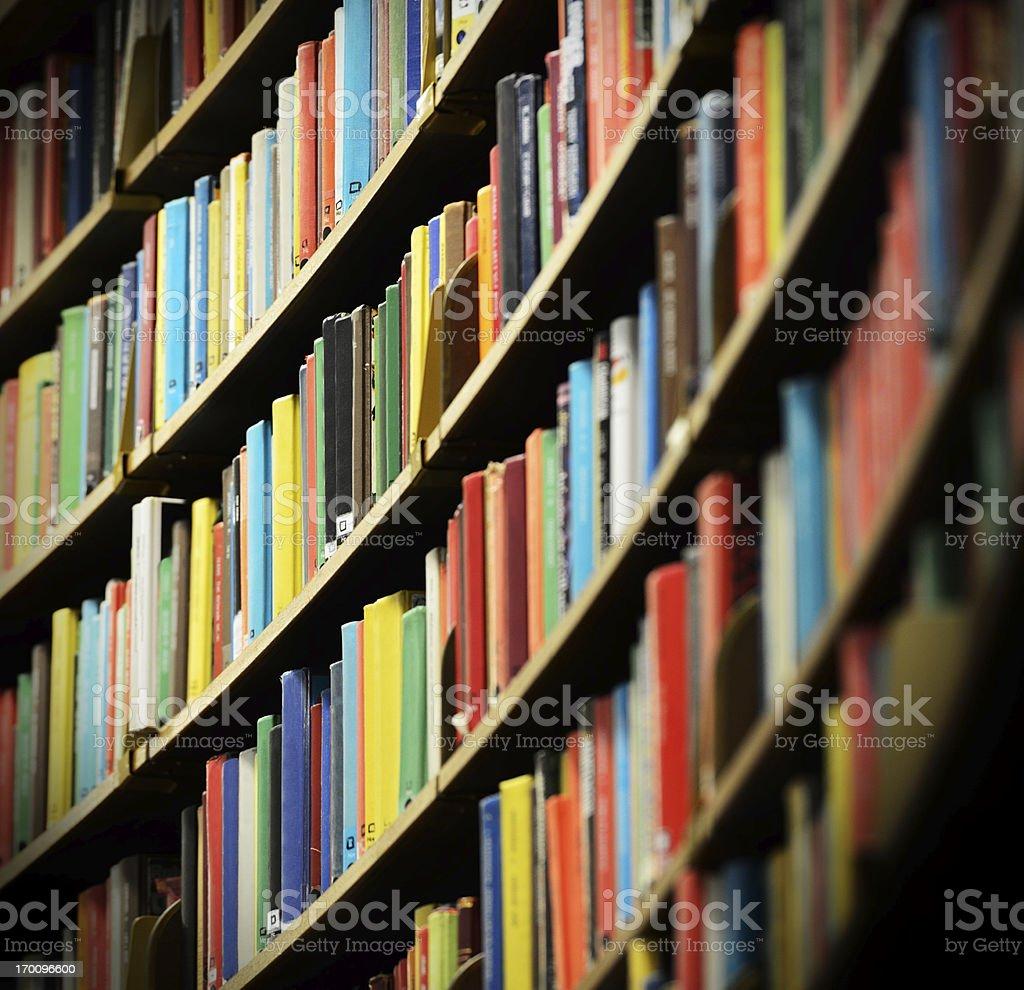 Library bookshelf, shallow DOF royalty-free stock photo