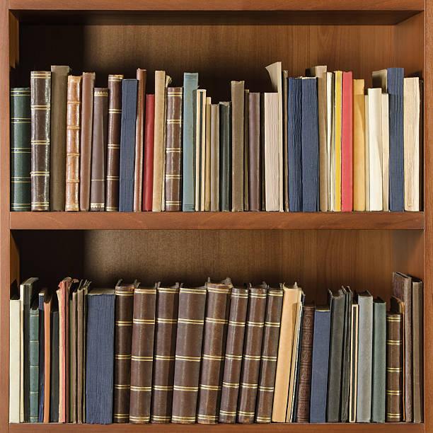 Library Bookshelf Square Stock Photo