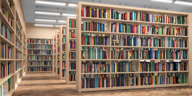 library. bookshelves with books and textbooks. learning and education concept. - library стоковые фото и изображения