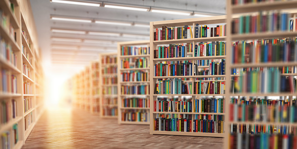 Library. Bookshelves with books and textbooks. Learning and education concept. 3d illustration