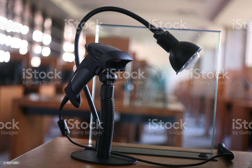 Library card reader stock photo