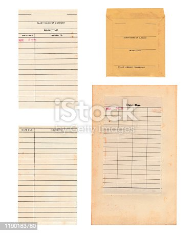 This set of library cards includes the front and back of the pull out due date card, the sleeve for the card, and the due date page from the original book that is yellowed and stained. There is one single date stamp from March 5, 1976.