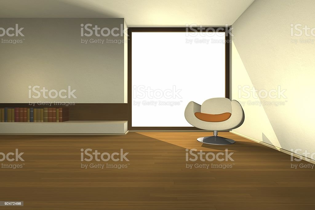 library corner - render royalty-free stock photo