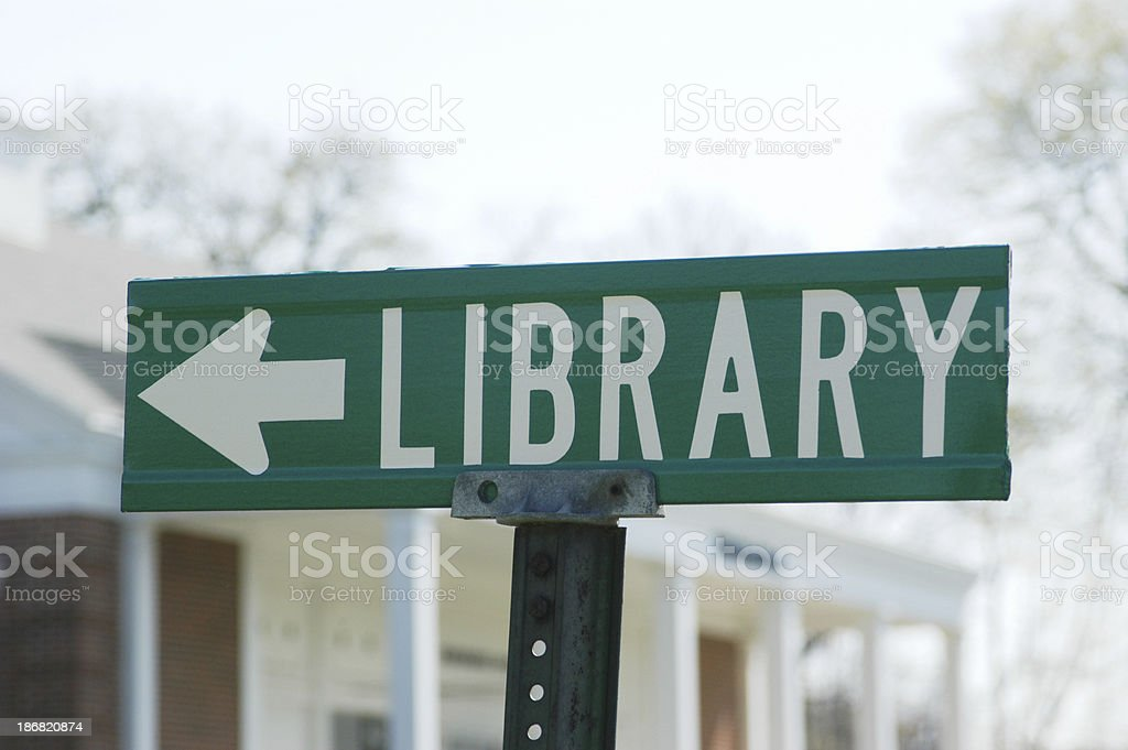 Library Directional Sign royalty-free stock photo