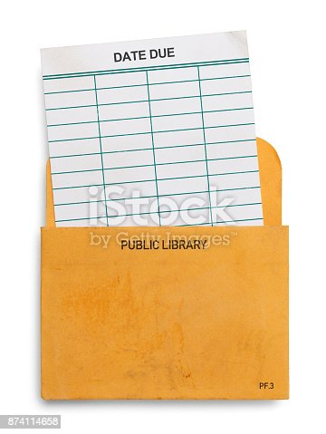 Blank Library Book Check Out Card Isolated on White Background.