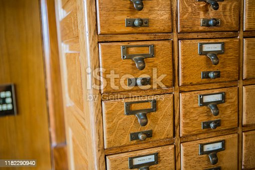 Old library filing drawers