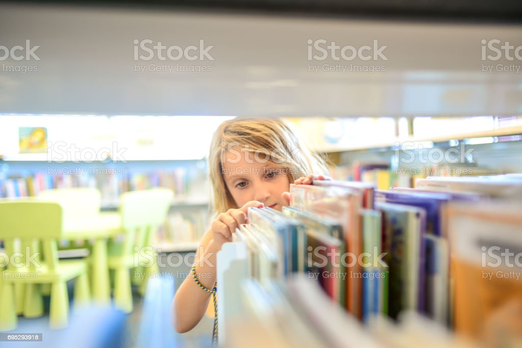 Library girl stock photo