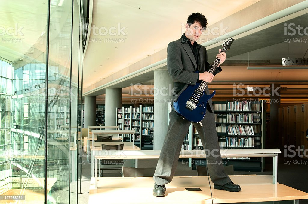Library Guitarist royalty-free stock photo