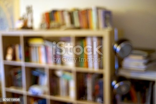 istock Library in untidy living room 929519898