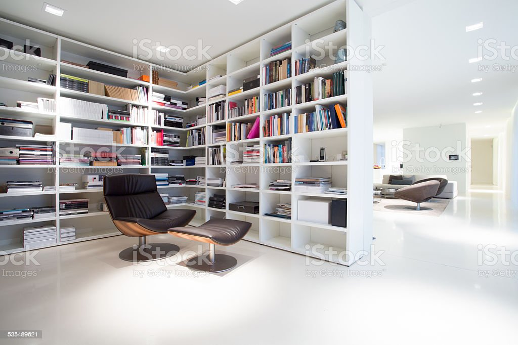 Library inside expensive, modern residence stock photo