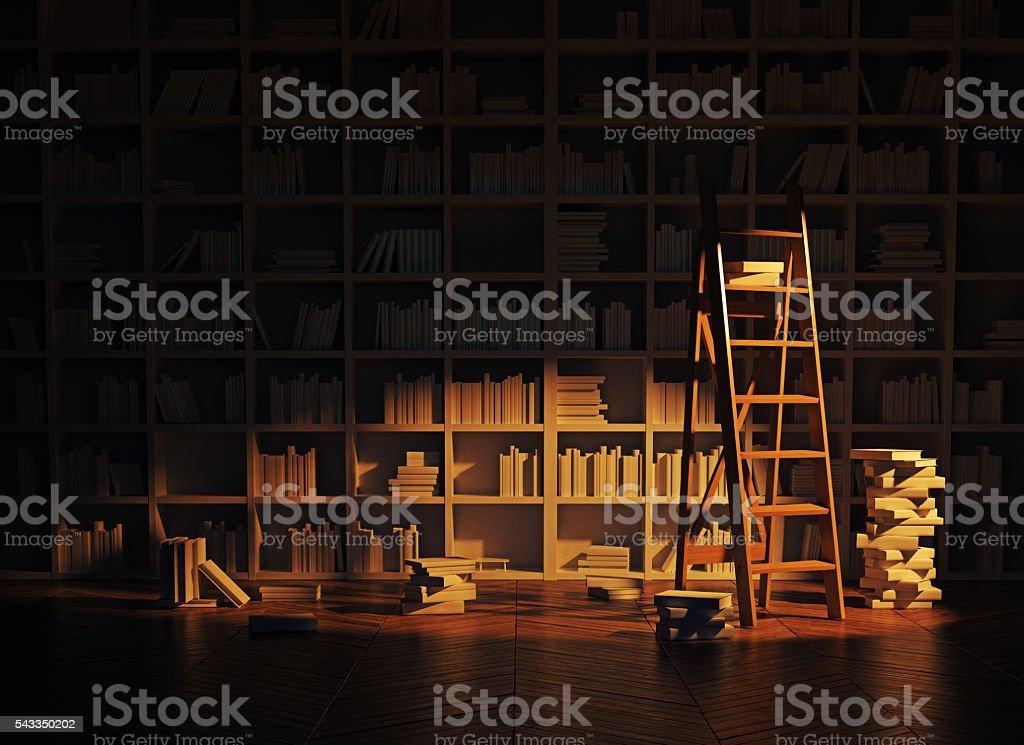 library interior stock photo