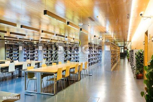 interior of modern public library