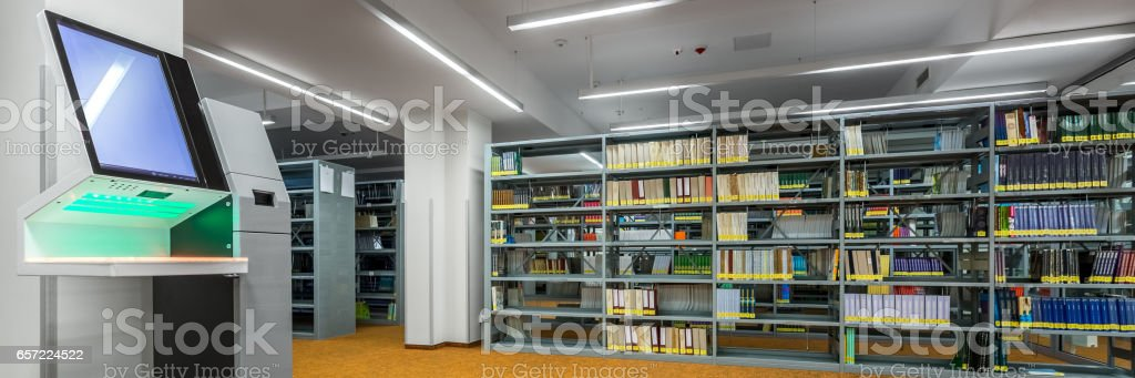 Library Interior With Modern Technology Stock Photo ...