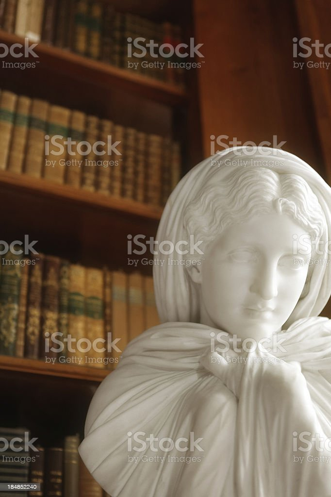 Library interior with sculpture stock photo